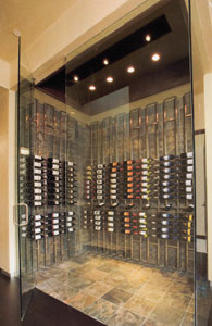 Custom Wine Room - Curved Custom Wine Cellar metal racks & Wood/Metal Wine Rack Plans for Custom Wine Cellars